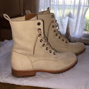 Frye white combat boots
